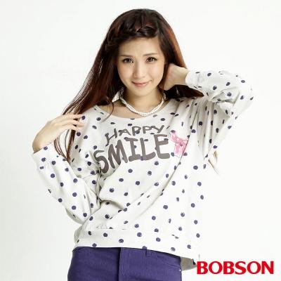 BOBSON 女款點點長袖上衣(米白81)