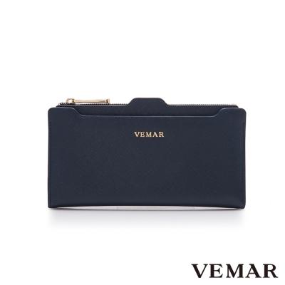 VEMAR優雅迴旋多夾層插卡長夾-魅惑藍