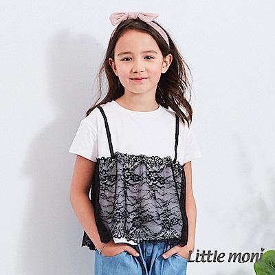 Little moni 蕾絲拼接上衣 (2色可選)