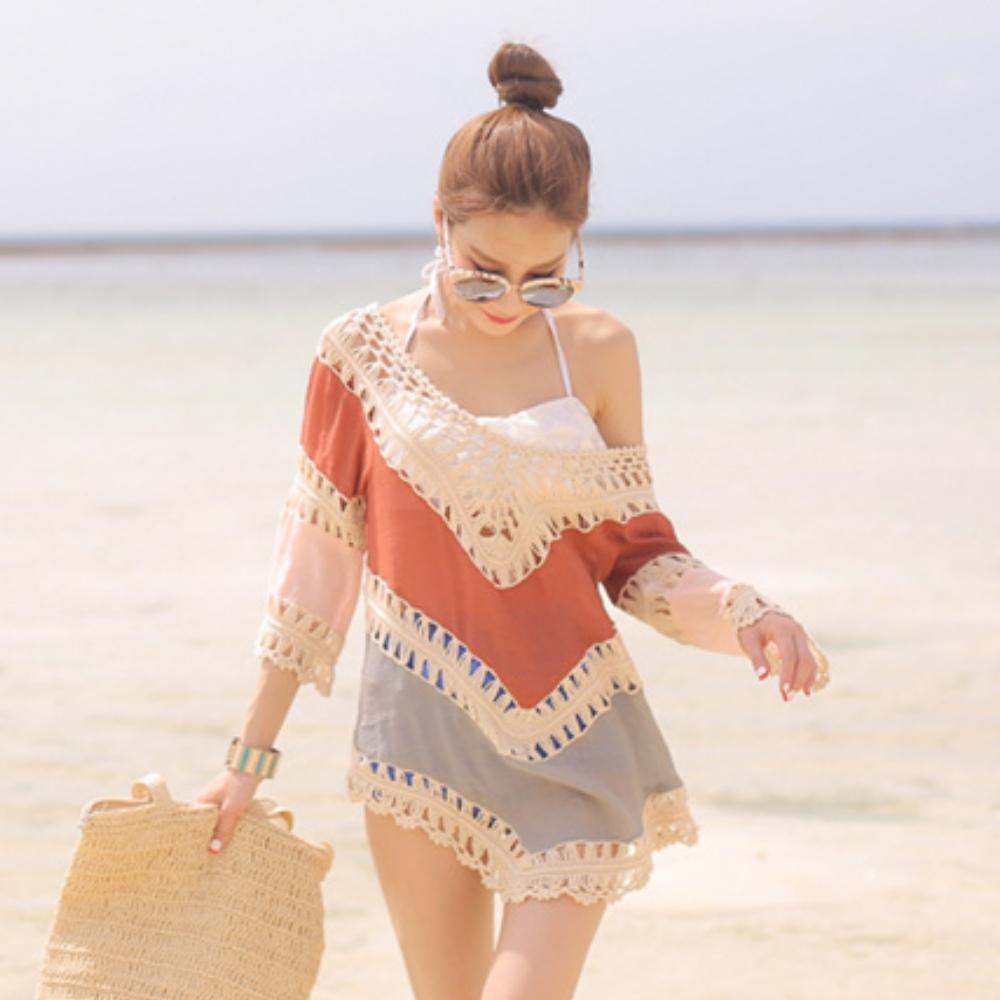 La Belleza大V領三色接色布蕾手勾鏤空編織七分袖棉麻罩衫(情人節送禮)