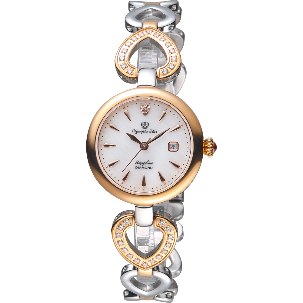 Olympianus 奧柏 恣心晶鑽鏤空手鍊女錶-珍珠貝x雙色/28mm