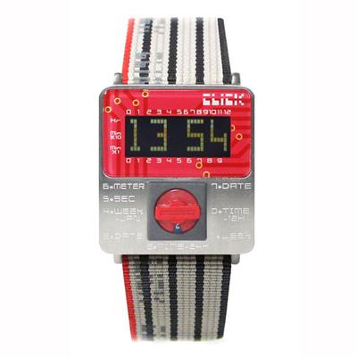 CLICK TURN 復古電路板個性電子腕錶(銀紅)
