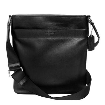 COACH黑色全皮壓字前後夾層袋方型斜背男包