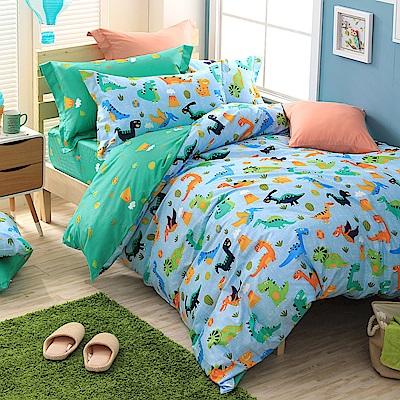 GOLDEN-TIME-侏儸紀派對-200織紗精梳棉兩用被床包組(雙人)