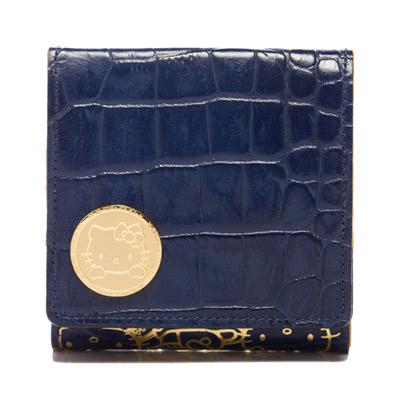 A.D.M.J KITTY&MIMMY鱷魚紋牛革短夾(BLUE)