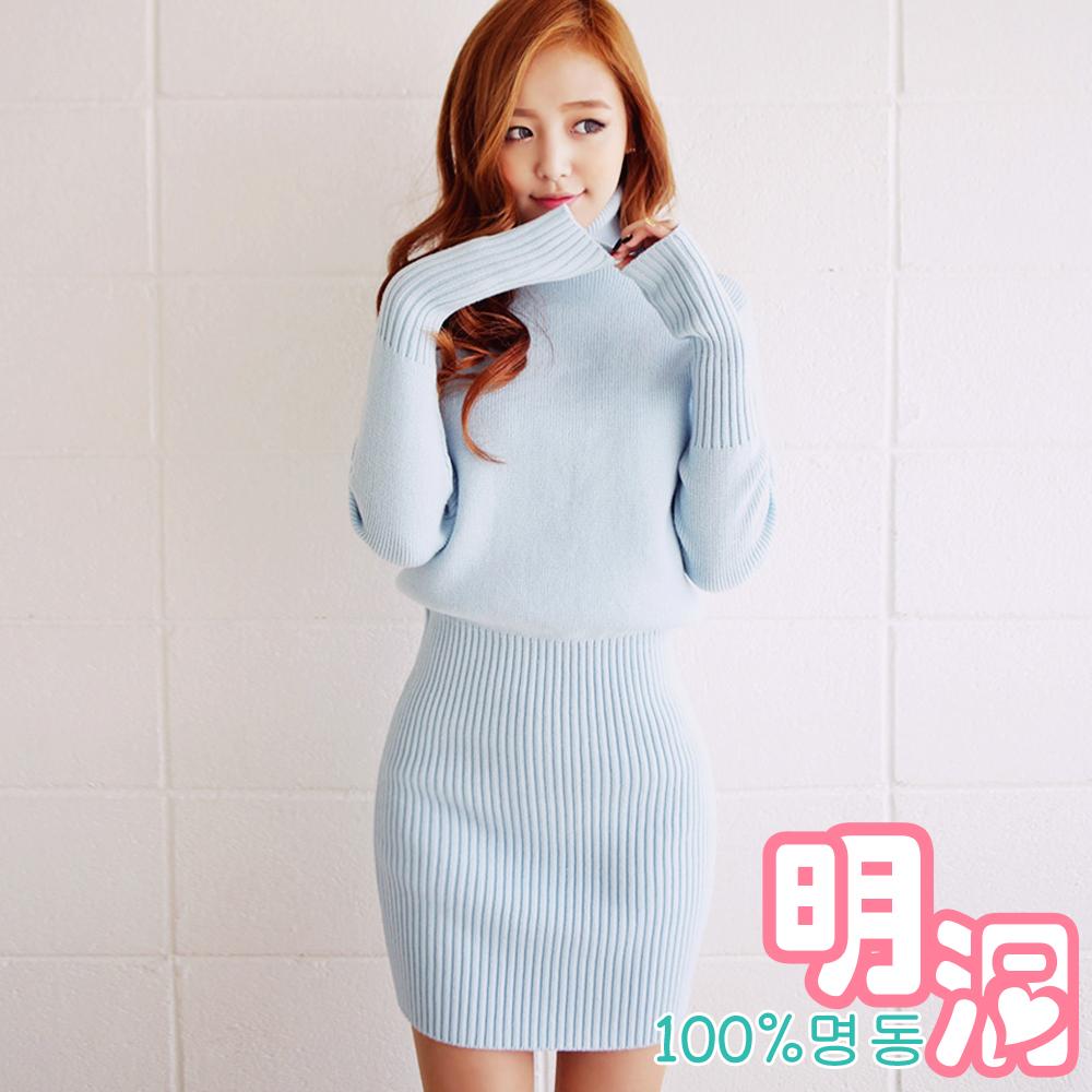 外翻高領混羊毛針織連身裙(共二色)-100%明洞