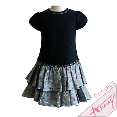 公主袖格紋蛋糕裙襬洋裝*黑