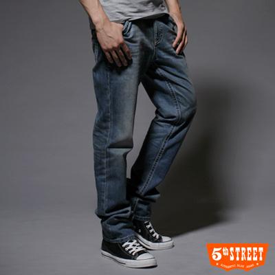 【5th STREET】剛烈詮釋 純棉中直筒牛仔褲-男款(中古藍)