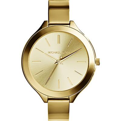 Michael Kors 都會時尚伸展台薄型手環腕錶-金