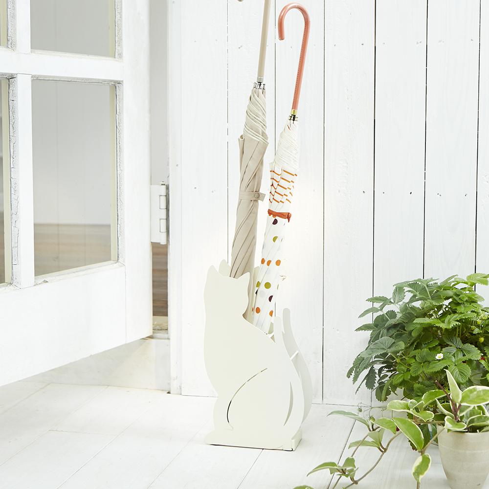 【YAMAZAKI】Cat優雅佇立傘架-白★雨傘筒/雨傘桶