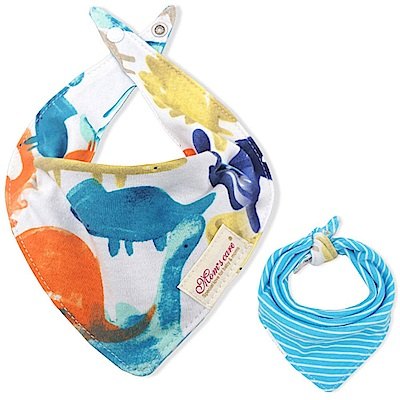 Baby unicorn 手繪恐龍款純棉雙面圍兜口水巾