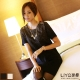 LIYO理優洋裝短袖針織洋裝(杏,黑)