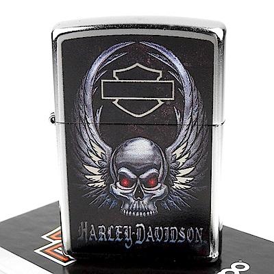 ZIPPO 美系~哈雷~Harley-Davidson-Skull骷髏之翼圖案打火機