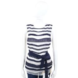 CLASS roberto cavalli 後雪紡藍白織花蕾絲條紋綁帶上衣