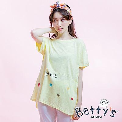 betty's貝蒂思 素色印花寬鬆T-shirt(淺黃)