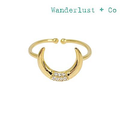 Wanderlust+Co 澳洲時尚品牌 新月之神水晶戒指 金色