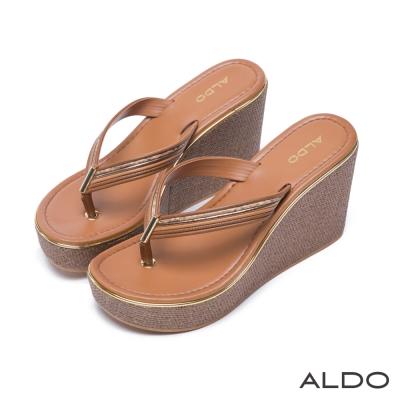 ALDO慵懶異國原色金邊編織厚底涼鞋~個性焦糖