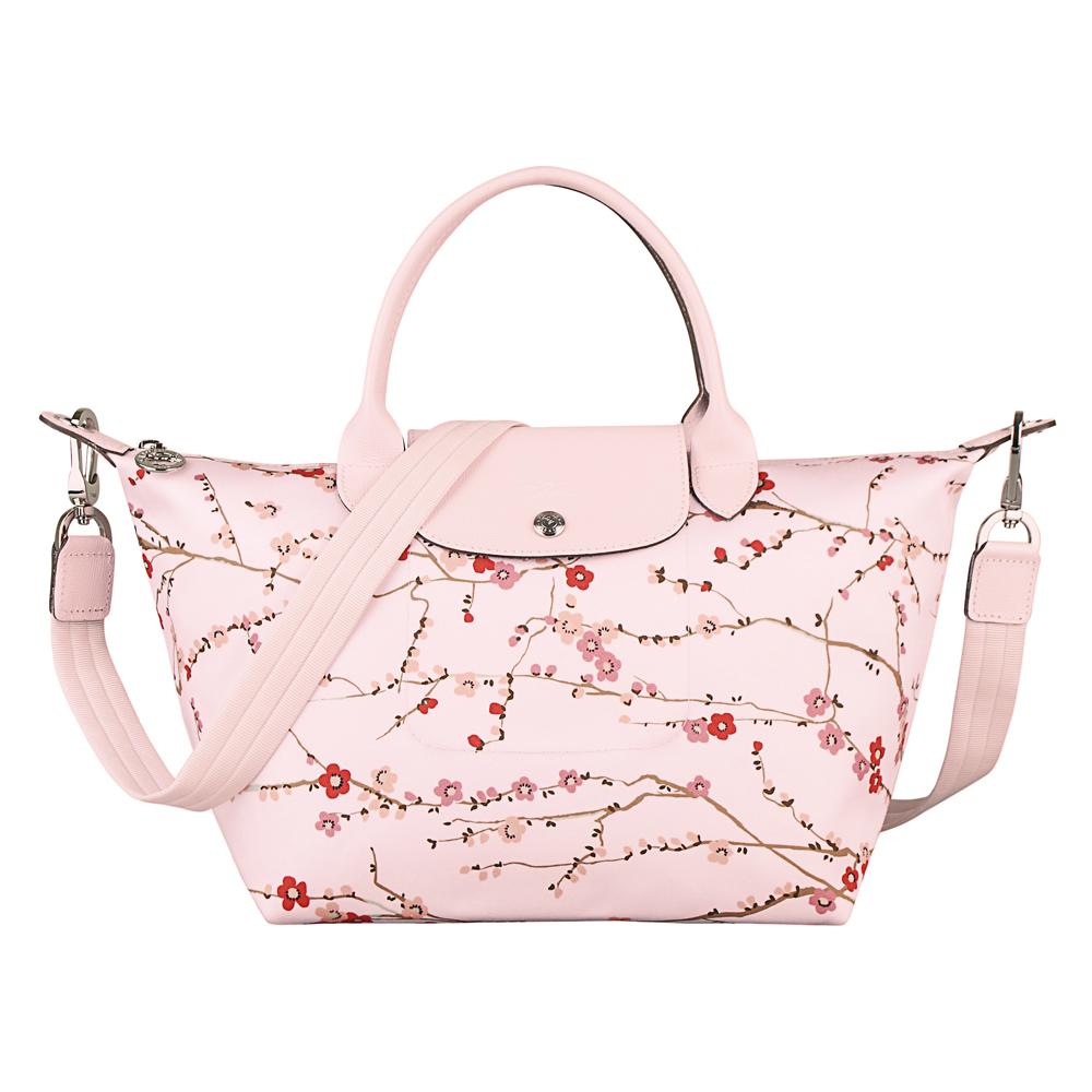 LONGCHAMP Fantaisie Sakura系列櫻列水餃包小玫瑰粉
