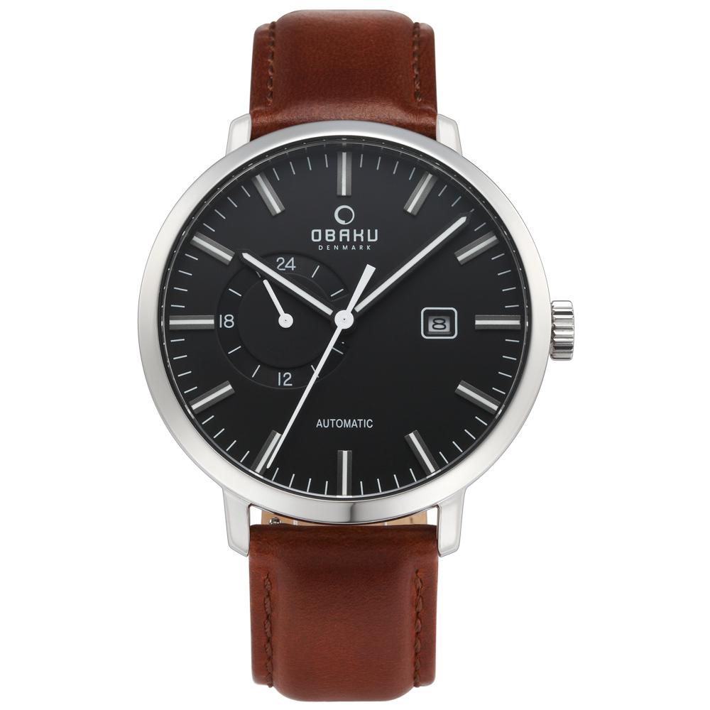 OBAKU 單眼羅伯機械皮帶腕錶(V210GTCBRN)-黑x咖啡色錶帶/45mm