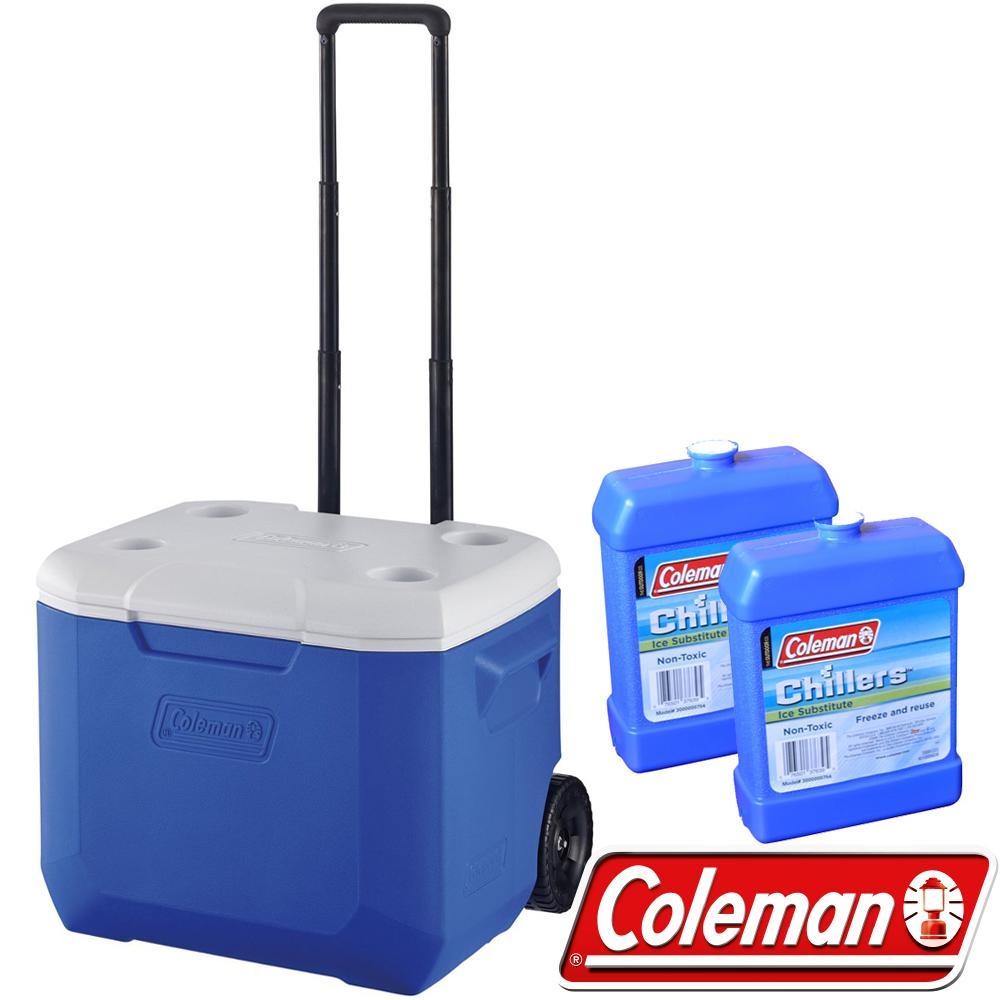Coleman 27863_海洋藍 56L行動拉桿托輪冰箱+冷媒*2 公司貨/保冰桶