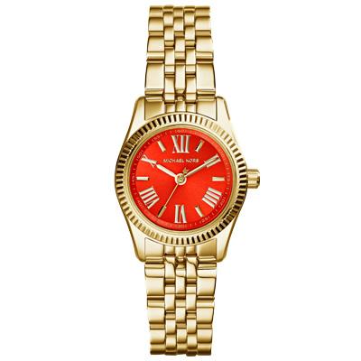 Michael Kors Lexington 幸福低喃時尚都會腕錶-橘紅x金/26mm