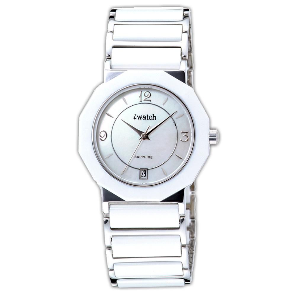 iwatch 歐風時尚陶瓷錶-白/32mm