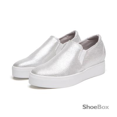 鞋櫃ShoeBox-晶亮炫風皎潔金蔥內增高休閒鞋-淨透銀