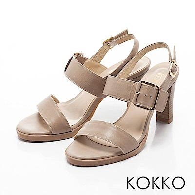 KOKKO-清新微甜真皮後帶粗高跟涼鞋-晨霧灰