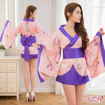 和服裝 粉紫繽紛和服角色扮演服二件組(粉紅F) Caelia
