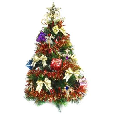 台製2尺(60cm)特級綠松針葉聖誕樹(紅金寶石禮物盒系)