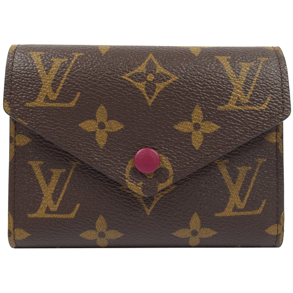LV M41938 Victorine 經典花紋扣式錢短夾.紫紅LV路易威登