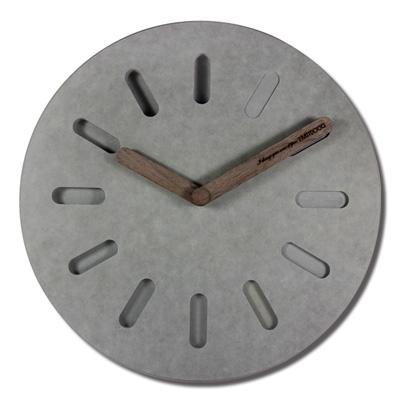 12吋簡約時尚現代居家清水模日式風格餐廳客廳臥室靜音掛鐘 - 灰色
