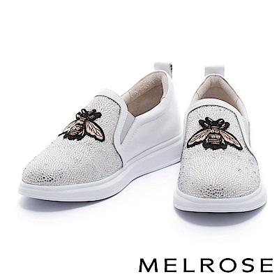 休閒鞋 MELROSE 復古奢華異材質拼接小蜜蜂點綴排鑽厚底休閒鞋-白