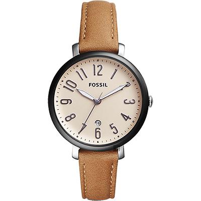 FOSSIL Jacqueline 風采時尚女錶(ES4150)-咖啡x黑框/36mm