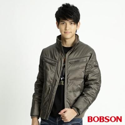 BOBSON-男款雙針V格羽絨外套