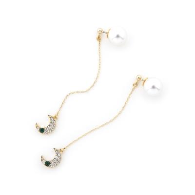 ANRI×JewCas 梅谷安里設計款-施華洛施奇月亮耳環