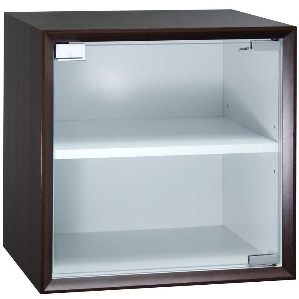 魔術方塊30系統收納櫃/玻璃門櫃-胡桃色