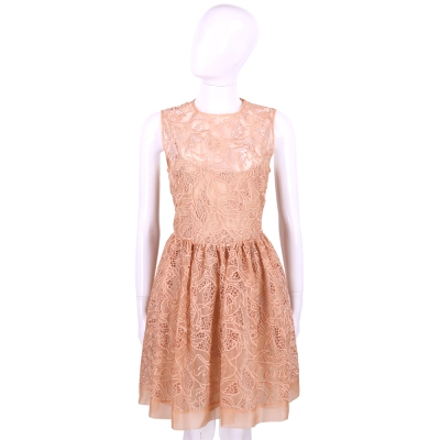 RED VALENTINO 粉膚色絲綢刺繡無袖洋裝(附內裡)