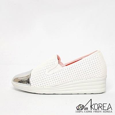 【AIRKOREA】韓國空運金屬尖頭皮革質感休閒懶人增高鞋 白
