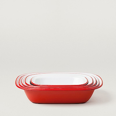 Falcon 英國 獵鷹琺瑯 方形深派盤5件組 紅白