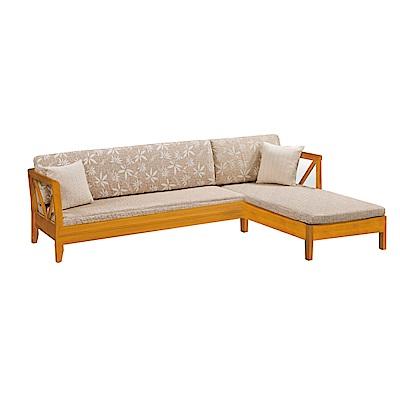 品家居 維斯其亞麻布實木L型沙發(左右可選)-252x178x67-免組