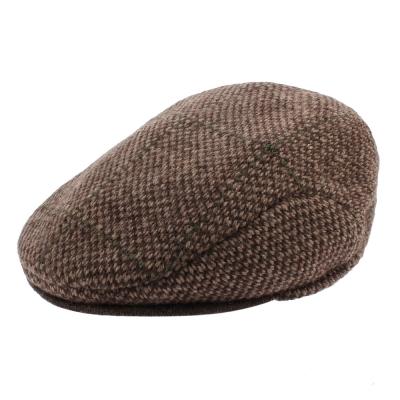 RALPH LAUREN POLO 復古格紋拼色混羊毛扁帽-咖啡色