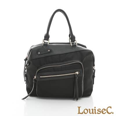 LouiseC. 個性多功能後背包-尼龍+牛皮-黑色-04Z36-0059A05