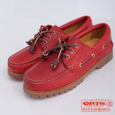 ORIS 女款  真皮烙印888帆船鞋~紅