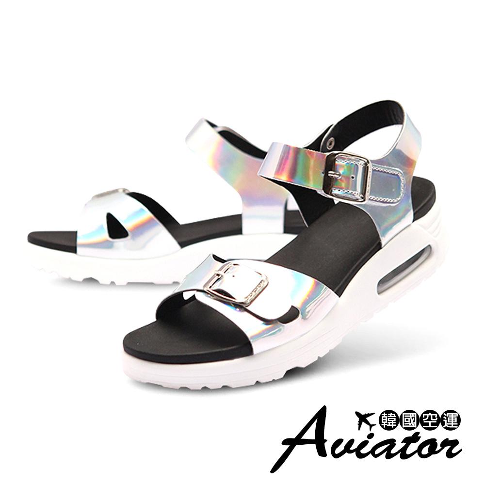 Aviator*韓國空運-Paperplanes-正韓製質感皮革氣墊寬帶涼鞋-銀