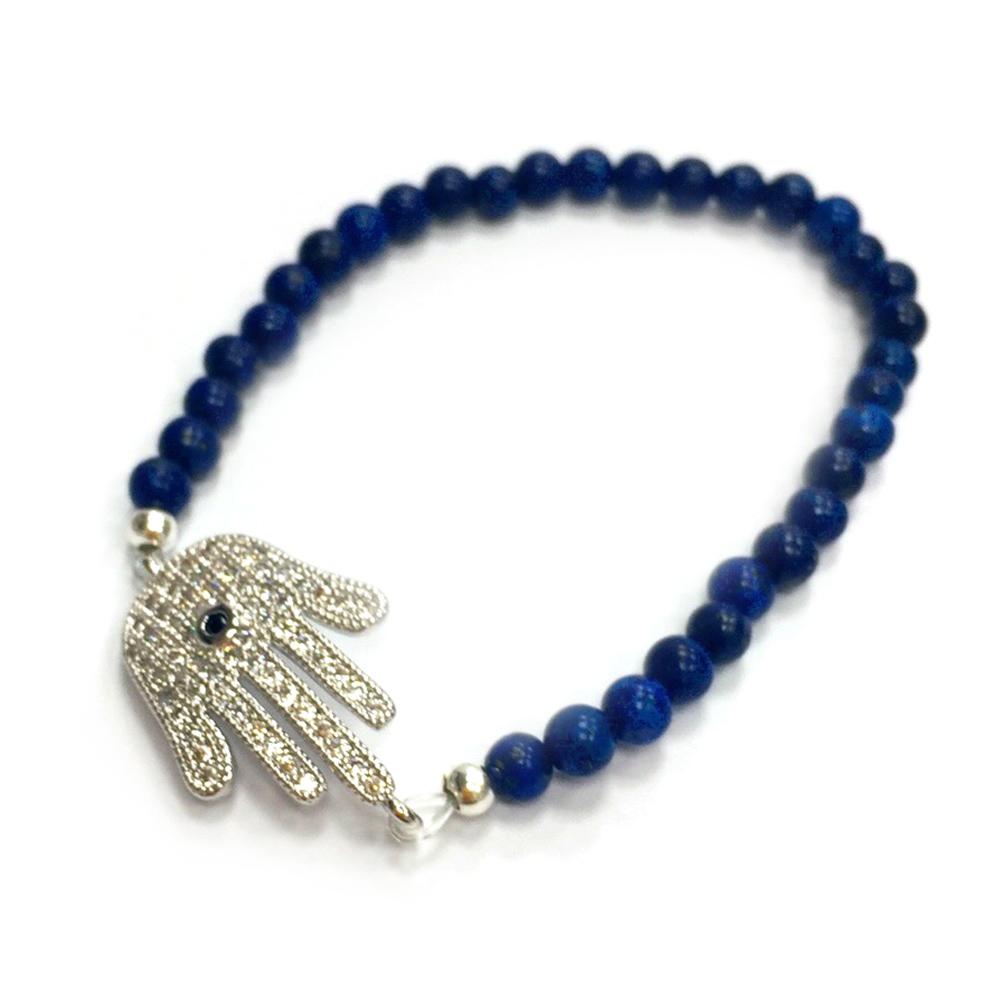 One of a kind 寶藍色玉石 白色晶鑽 大版銀色幸運手掌 HAMSA彈性伸縮手鍊