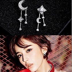 梨花HaNA 無耳洞不對襯的星月物語夾式長耳環耳夾