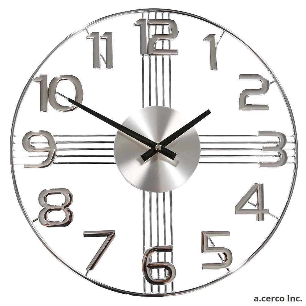 a.cerco 十字星數字設計鐘 -時尚銀