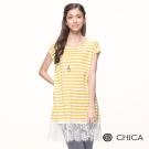CHICA 清新雅緻蕾絲條紋拼接設計長版上衣(4色)