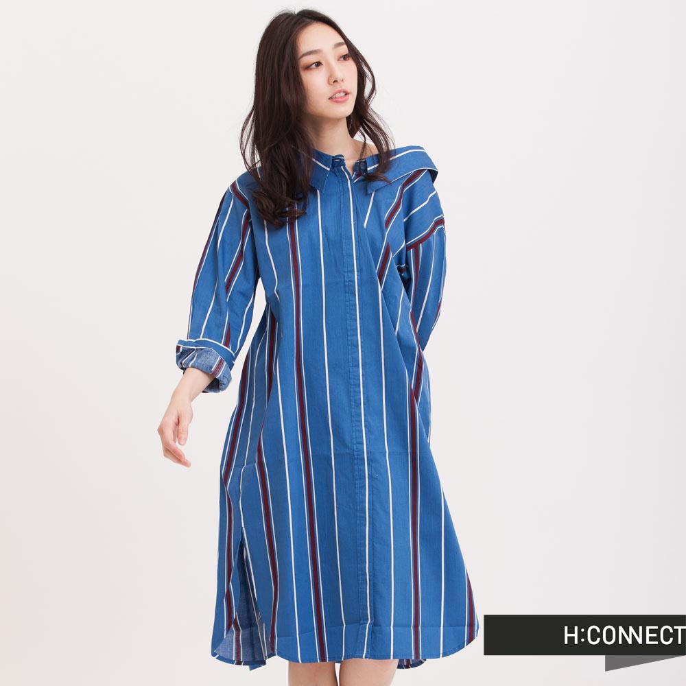 H:CONNECT韓國品牌女裝直紋襯衫洋裝藍